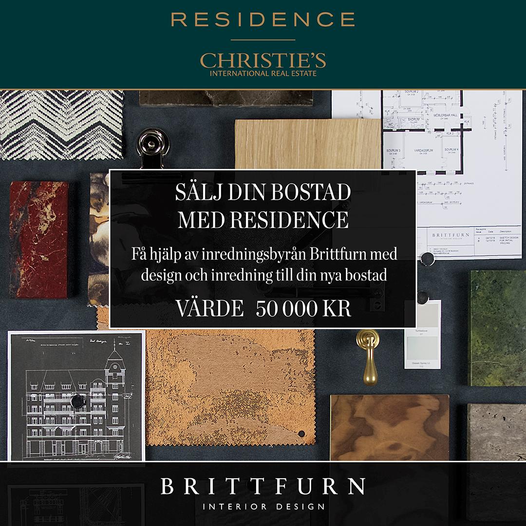 Sälj din bostad med Residence. Få hjälp av inredningsbyrån Brittfurn med design och inredning till din nya bostad.